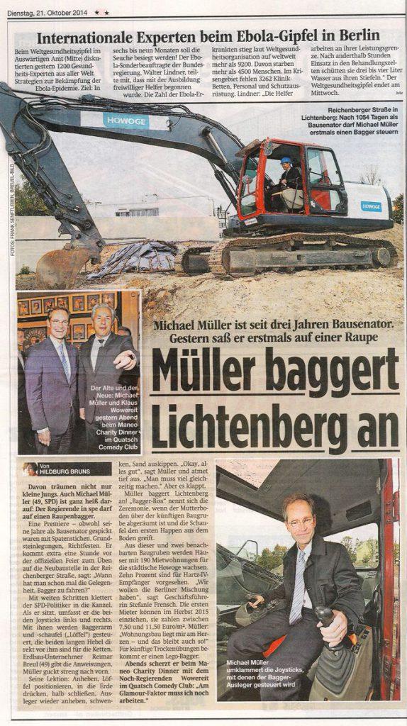 Küstriner Straße - Artikel zu Baustart mit Michael Müller