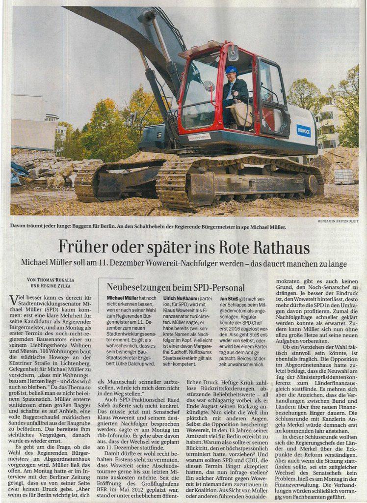 Küstriner Straße - Artikel Berliner Zeitung zu Spatenstich mit Michael Müller
