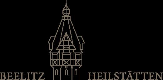 Logo vom Quartier Beelitz-Heilstätten bestehend aus Schriftzug und Umrisszeichnung des historischen Wasserturms