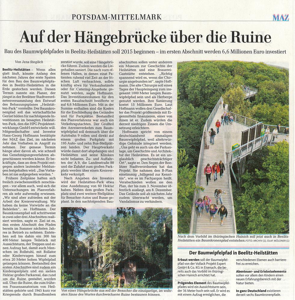 Refugium Beelitz - MAZ-Artikel zum Baumkronenpfad