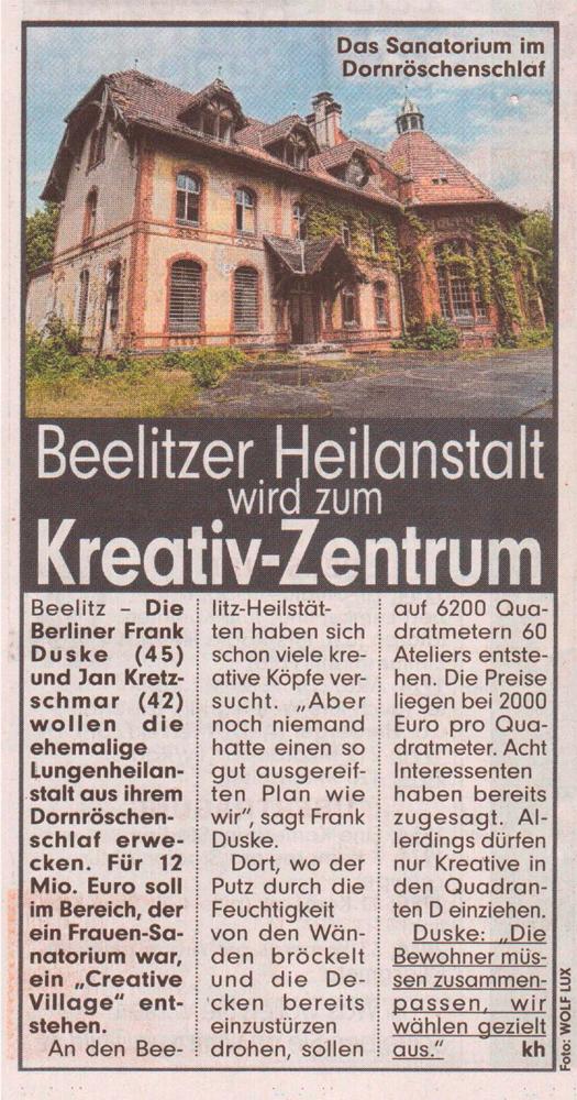 Refugium Beelitz - BILD-Artikel zur Umnutzung von Denkmalen in Beelitz-Heilstätten zu Wohnzwecken