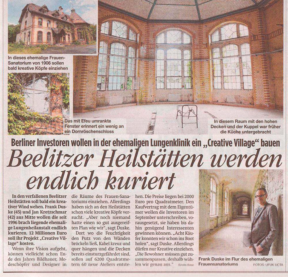 Refugium Beelitz - BZ-Artikel zur Umnutzung von Denkmalen in Beelitz-Heilstätten zu Wohnzwecken