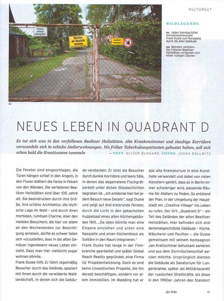 """Refugium Beelitz - """"der fritz"""" Artikel zur Umnutzung von Denkmalen in Beelitz-Heilstätten zu Wohnzwecken, S. 1"""