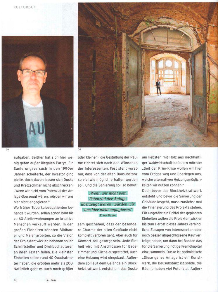"""Refugium Beelitz - """"der fritz"""" Artikel zur Umnutzung von Denkmalen in Beelitz-Heilstätten zu Wohnzwecken, S. 2"""