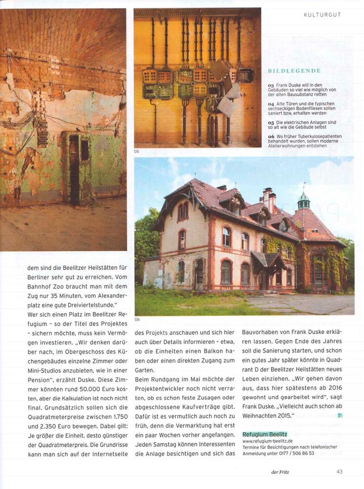 """Refugium Beelitz - """"der fritz"""" Artikel zur Umnutzung von Denkmalen in Beelitz-Heilstätten zu Wohnzwecken, S. 3"""