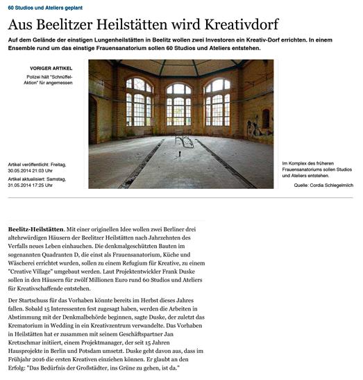 Refugium Beelitz - MAZ-Artikel zur Umnutzung von Denkmalen in Beelitz-Heilstätten zu Wohnzwecken, S. 1