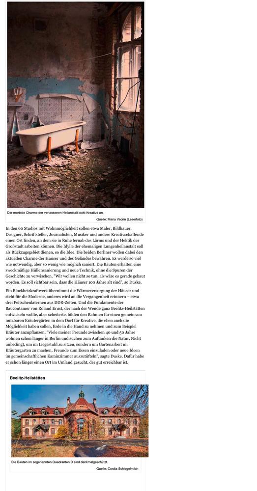 Refugium Beelitz - MAZ-Artikel zur Umnutzung von Denkmalen in Beelitz-Heilstätten zu Wohnzwecken, S. 2