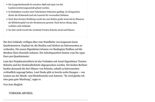 Refugium Beelitz - MAZ-Artikel zur Umnutzung von Denkmalen in Beelitz-Heilstätten zu Wohnzwecken, S. 3
