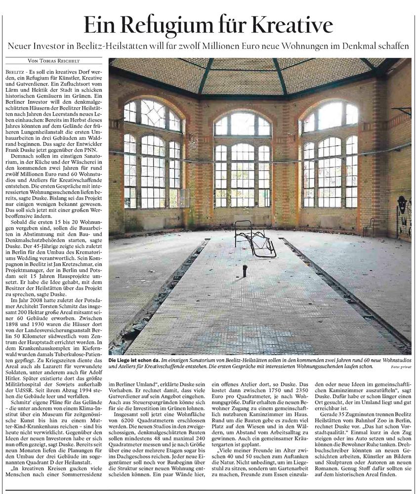 Refugium Beelitz - PNN-Artikel zur Umnutzung von Denkmalen in Beelitz-Heilstätten zu Wohnzwecken