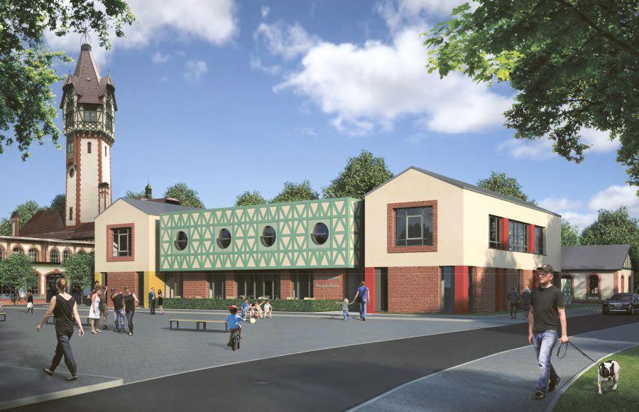 Quartier Beelitz-Heilstätten - Visualisierung der Planung für den Kindergarten am Marktplatz, Wasserturm im Hintergrund