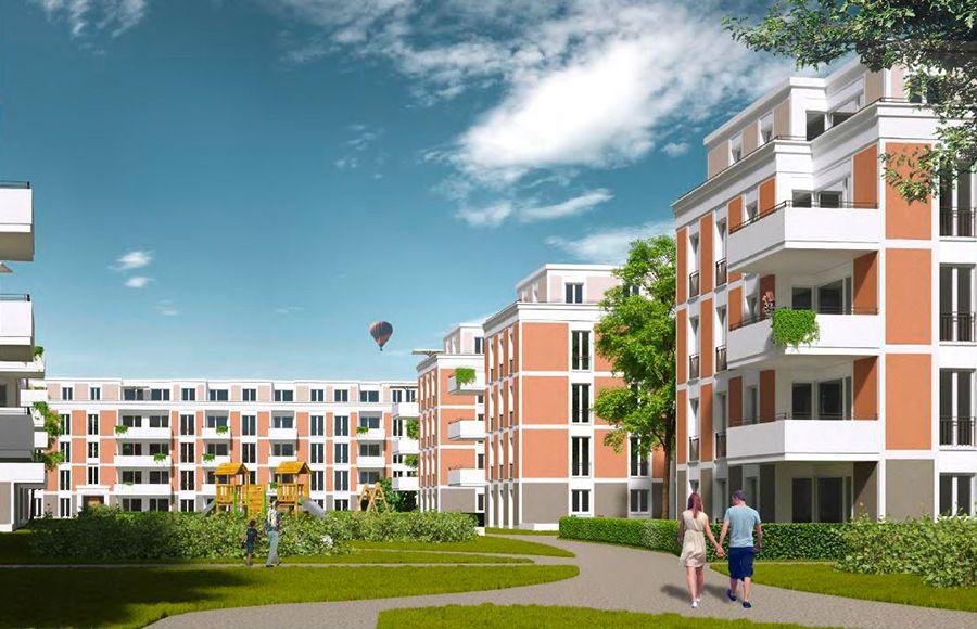 Eisenhutweg - Visualisierung der möglichen Fassadengestaltung der geplanten mehrgeschossigen Wohngebäude und des grünen Innenhofs mit Kinderspielplatz