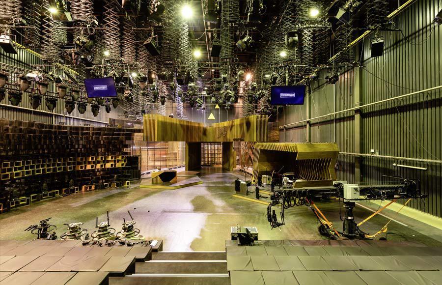 Studio Five - Studio innen bei Aufbauarbeiten zur Berlin Late Night Show