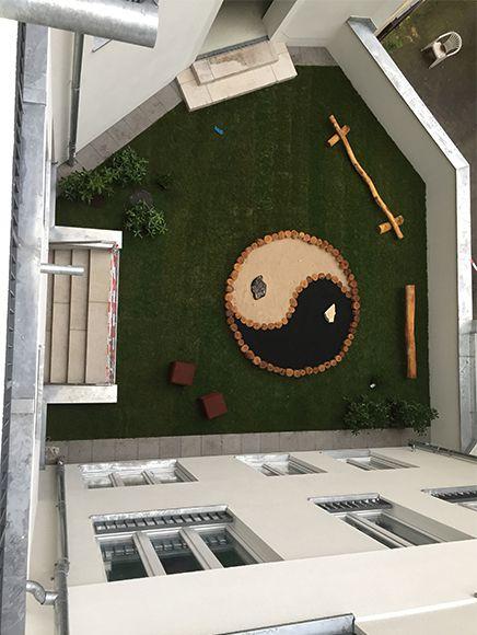 Thaerstraße - Vogelperspektive kleiner Innenhof mit Spiellplatz