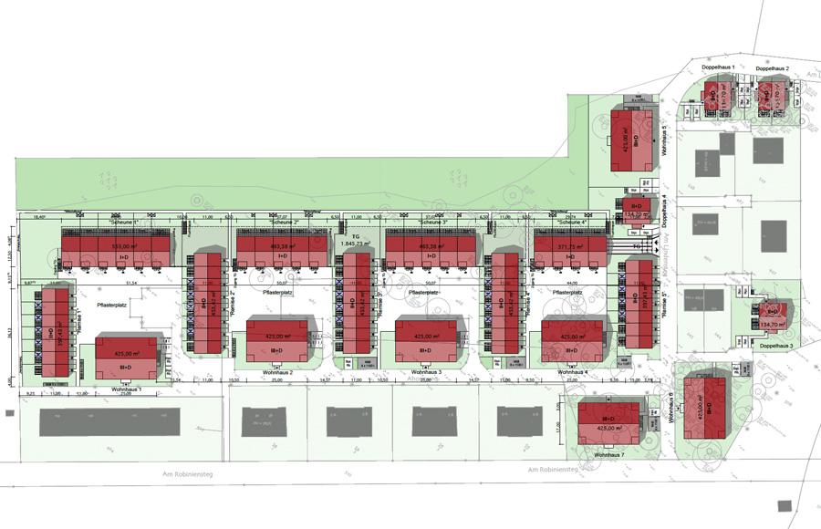 Ahornhöfe - Lageplan zum Gesamtbebauungskonzept mit vier Vierseithöfen, 3 Mehrfamilienhäusern und 4 Doppelhäusern
