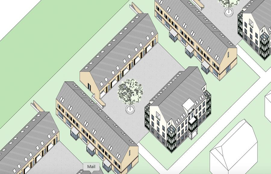 Ahornhöfe - Konzeptskizze eines Vierseitenhofs aus 3 Reihenhauszeilen und einem Mehrfamilienhaus