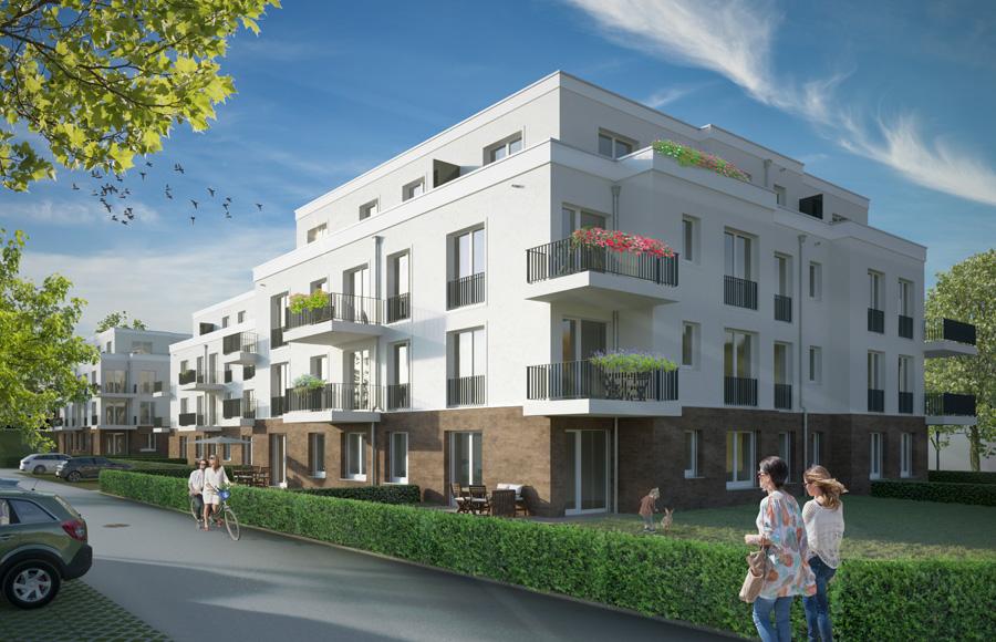 Bergfelde 1. Baufeld - Visualisierung der Außenansichten der drei im Bau befindlichen Stadtvillen