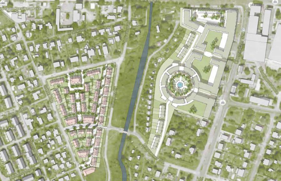 Biesdorf - Lageplan des städtebaulichen Gesamtkonzepts mit Crescent (Rundplatz), Reihenhäusern und mehreren Riegelbauten