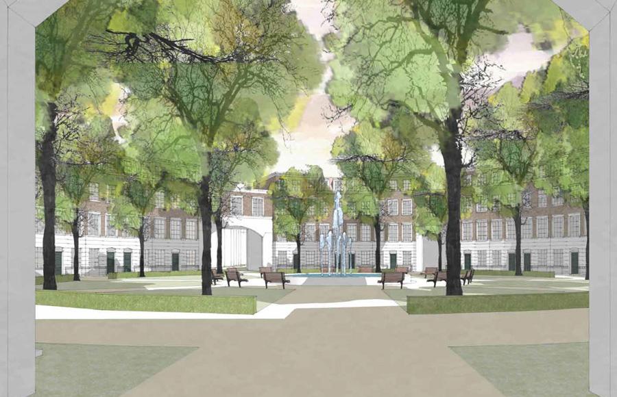 Biesdorf - Visualisierung Innenansicht der Planung für den zentralen Rundplatz mit mittigem Springbrunnen und Fassaden im englischen Stil