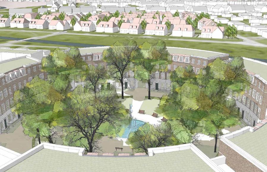 Biesdorf - Visualisierung der Planung für den zentralen Rundplatz mit mittigem Springbrunnen und Fassaden im englischen Stil
