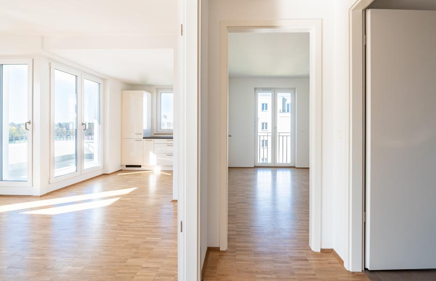 BrunnenViertel - Neubauwohnung mit hochwertigem Parkett, Einbauküche, bodentiefen Fenstern und Dachterrasse