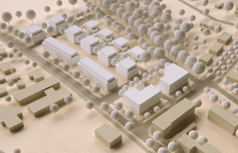 Elisabethstraße Strausberg - 3-D-Modell des städtebaulichen Konzepts mit Umgebung