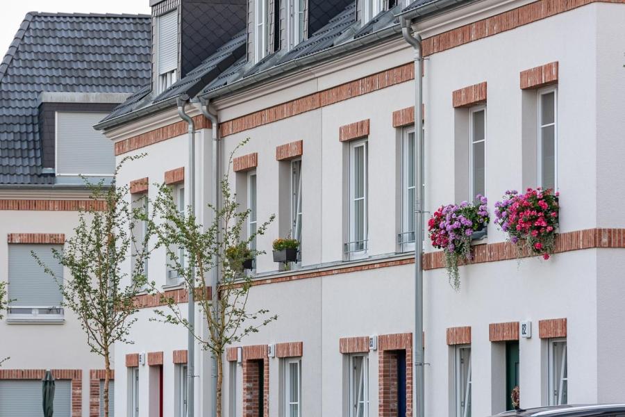 Grüne Aue Biesdorf Fassadenansicht mit Klinker und Bepflanzung
