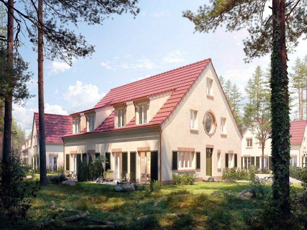 Ansicht Doppelhaus mit Rundfenster
